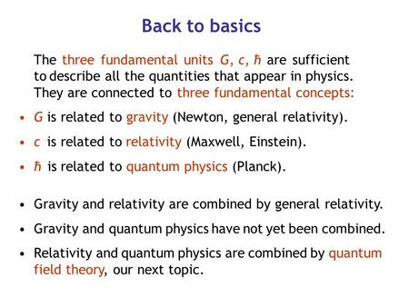Back to basics The three fundamental units G, c, ћ are sufficient to describe all the quantities that appear in physics. They are connected to three fundamental.