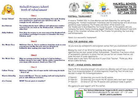 HALWILL SCHOOL Newsletter No.33 SUMMER TERM 12 th June 2015 FOOTBALL TOURNAMENT A massive THANK YOU to Clare Martyn and Kath Edworthy for sorting and arranging.
