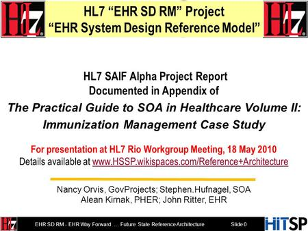 EHR SD RM Milestones 2008 2009 2010 2011 Healthcare SOA Reference Architecture (H-SOA-RA) EHR SD RM Immunization & Response Management (IRM) Prototype.