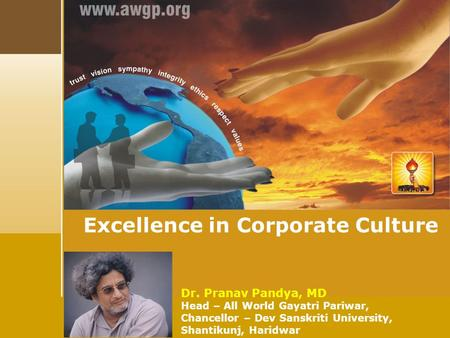 Dr. Pranav Pandya, MD Head – All World Gayatri Pariwar, Chancellor – Dev Sanskriti University, Shantikunj, Haridwar Excellence in Corporate Culture.