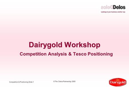 Competition & Positioning Slide 1 © The Delos Partnership 2005 Dairygold Workshop Competition Analysis & Tesco Positioning.