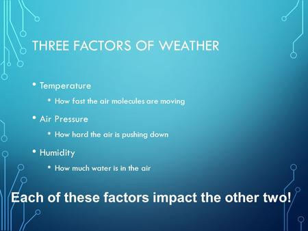 Three Factors of Weather