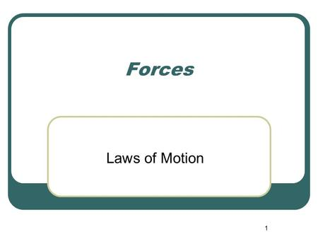1 Forces Laws of Motion. 2 Newton's First Law of Motion An object at rest remains at rest and an object in motion maintains its velocity unless it experiences.