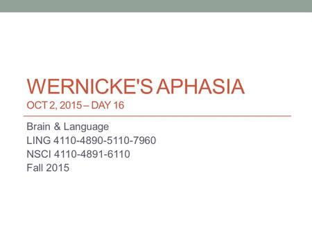 wernicke's Aphasia Oct 2, 2015 – DAY 16