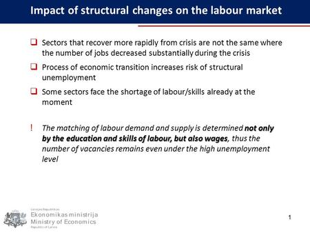 Impact of structural changes on the labour market 1  Sectors that recover more rapidly from crisis are not the same where the number of jobs decreased.