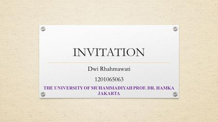 THE UNIVERSITY OF MUHAMMADIYAH PROF. DR. HAMKA