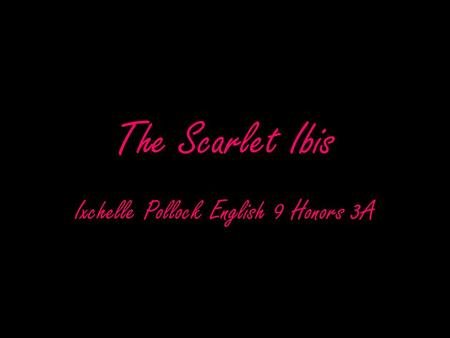 The Scarlet Ibis Ixchelle Pollock English 9 Honors 3A.