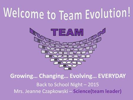 Back to School Night – 2015 Mrs. Jeanne Czapkowski – Science(team leader) Growing… Changing… Evolving… EVERYDAY.