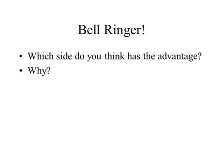 Bell Ringer! Which side do you think has the advantage? Why?
