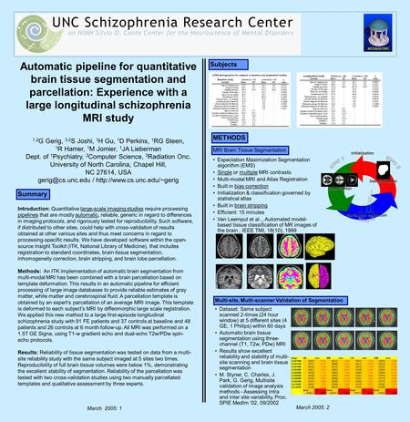 Automatic pipeline for quantitative brain tissue segmentation and parcellation: Experience with a large longitudinal schizophrenia MRI study 1,2 G Gerig,
