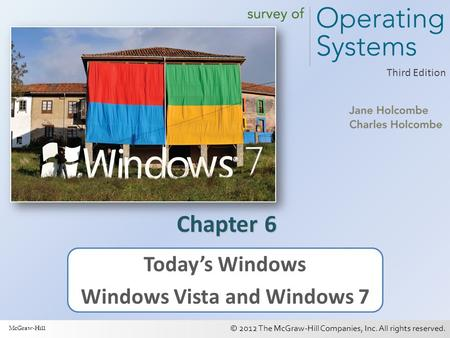 © 2012 The McGraw-Hill Companies, Inc. All rights reserved. 1 Third Edition Chapter 6 Today's Windows Windows Vista and Windows 7 McGraw-Hill.
