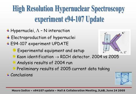 Hypernuclei,  – N interaction  Electroproduction of hypernuclei E94-107 experiment UPDATE  Experimental equipment and setup Kaon identification  RICH.