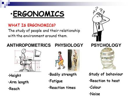 ERGONOMICSERGONOMICS WHAT IS ERGONOMICS? The study of people and their relationship with the environment around them. PHYSIOLOGYPSYCHOLOGYANTHROPOMETRICS.