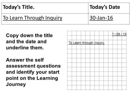 Today's Title.Today's Date To Learn Through Inquiry30-Jan-16 Copy down the title and the date and underline them. Answer the self assessment questions.