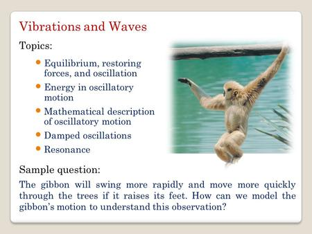 Equilibrium, restoring forces, and oscillation Energy in oscillatory motion Mathematical description of oscillatory motion Damped oscillations Resonance.