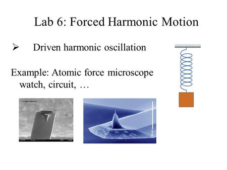 Lab 6: Forced Harmonic Motion  Driven harmonic oscillation Example: Atomic force microscope watch, circuit, …