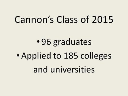 Cannon's Class of 2015 96 graduates Applied to 185 colleges and universities.