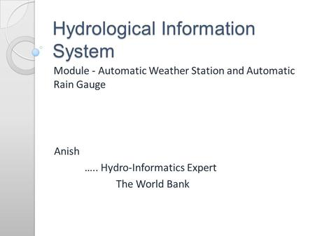Hydrological Information System