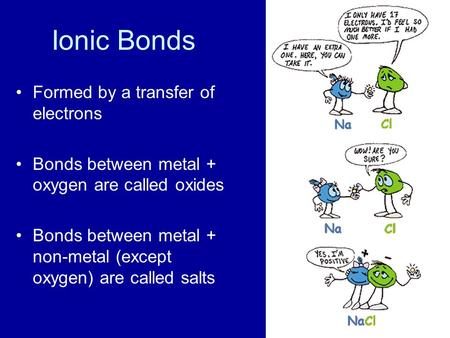 Ionic Bonds Formed by a transfer of electrons Bonds between metal + oxygen are called oxides Bonds between metal + non-metal (except oxygen) are called.