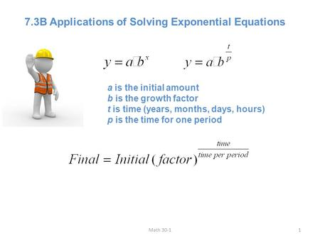 7.3B Applications of Solving Exponential Equations