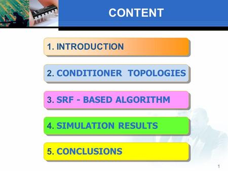 CONTENT 1 1. INTRODUCTION 4. SIMULATION RESULTS 2. CONDITIONER TOPOLOGIES 3. SRF - BASED ALGORITHM 5. CONCLUSIONS.