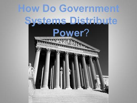 How Do Government Systems Distribute Power?. How Is Power Shared? Federal, Unitary, Confederation.