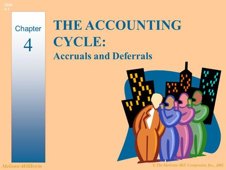 © The McGraw-Hill Companies, Inc., 2003 McGraw-Hill/Irwin Slide 4-1 THE ACCOUNTING CYCLE: Accruals and Deferrals Chapter 4.