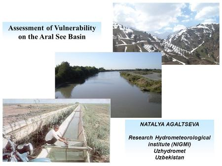 Assessment of Vulnerability on the Aral See Basin NATALYA AGALTSEVA Research Hydrometeorological institute (NIGMI) Uzhydromet Uzbekistan.