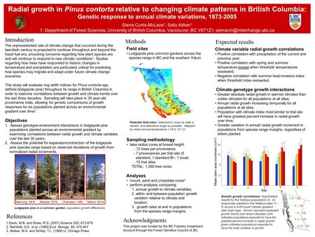 Radial growth in Pinus contorta relative to changing climate patterns in British Columbia: Genetic response to annual climate variations, 1973-2005 Sierra.