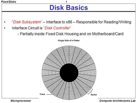 "1 Fixed Disks Microprocessor Computer Architectures Lab Disk Basics ""Disk Subsystem"" – Interface to x86 – Responsible for Reading/Writing Interface Circuit."