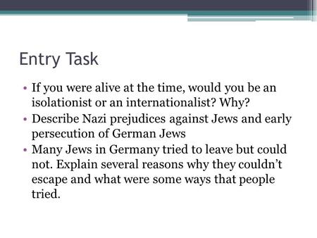 Entry Task If you were alive at the time, would you be an isolationist or an internationalist? Why? Describe Nazi prejudices against Jews and early persecution.