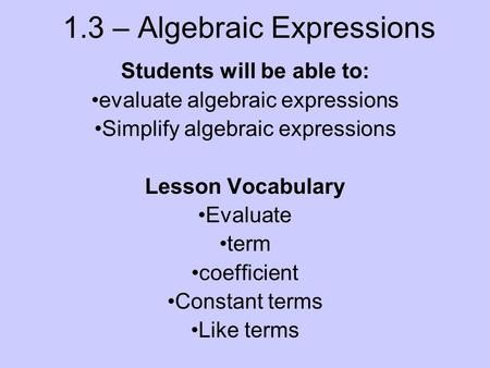 Simplifying and evaluating expressions worksheet pdf