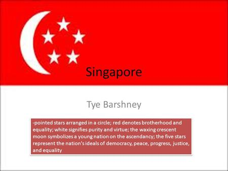 Singapore Tye Barshney -pointed stars arranged in a circle; red denotes brotherhood and equality; white signifies purity and virtue; the waxing crescent.