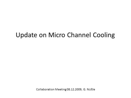 Update on Micro Channel Cooling Collaboration Meeting 08.12.2009, G. Nüßle.