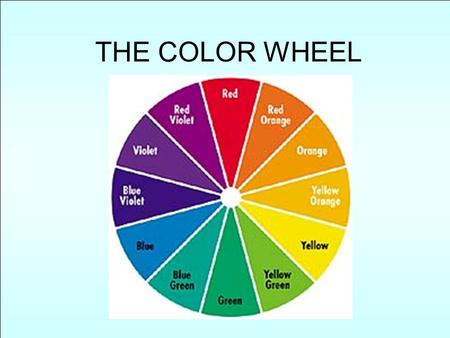 THE COLOR WHEEL. MIXING SECONDARIES RED + YELLOW = ORANGE RED + BLUE = VIOLET YELLOW + BLUE = GREEN.