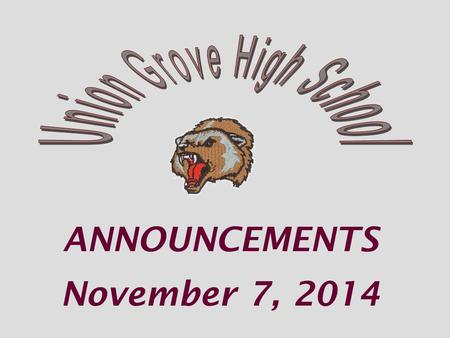 ANNOUNCEMENTS November 7, 2014. The media center and IF passes are NOT available all week JOB FAIR.