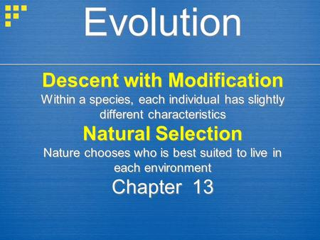 Evolution Descent with Modification Within a species, each individual has slightly different characteristics Natural Selection Nature chooses who is best.