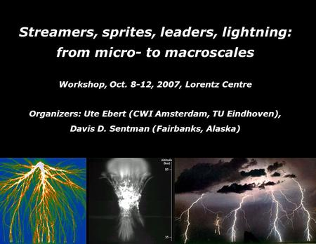 Streamers, sprites, leaders, lightning: from micro- to macroscales Workshop, Oct. 8-12, 2007, Lorentz Centre Organizers: Ute Ebert (CWI Amsterdam, TU Eindhoven),