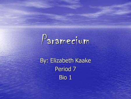 Paramecium By: Elizabeth Kaake Period 7 Bio 1. Structure of a paramecium: large ciliate protozoan that lives in stagnant freshwater. Structure of a paramecium: