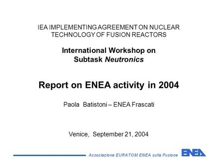 IEA IMPLEMENTING AGREEMENT ON NUCLEAR TECHNOLOGY OF FUSION REACTORS International Workshop on Subtask Neutronics Report on ENEA activity in 2004 Paola.