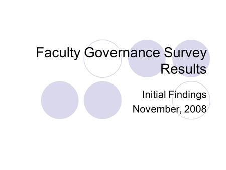 Faculty Governance Survey Results Initial Findings November, 2008.