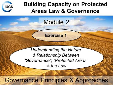 Building Capacity on Protected Areas Law & Governance Module 2 Governance Principles & Approaches Exercise 1 Understanding the Nature & Relationship Between.