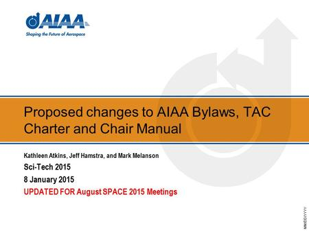 MM/DD/YYYY Proposed changes to AIAA Bylaws, TAC Charter and Chair Manual Kathleen Atkins, Jeff Hamstra, and Mark Melanson Sci-Tech 2015 8 January 2015.