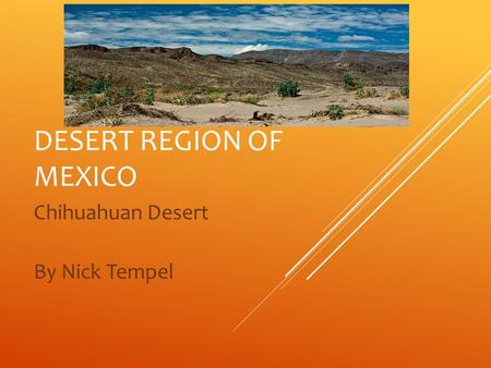 DESERT REGION OF MEXICO Chihuahuan Desert By Nick Tempel.