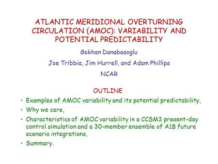 OUTLINE Examples of AMOC variability and its potential predictability, Why we care, Characteristics of AMOC variability in a CCSM3 present-day control.