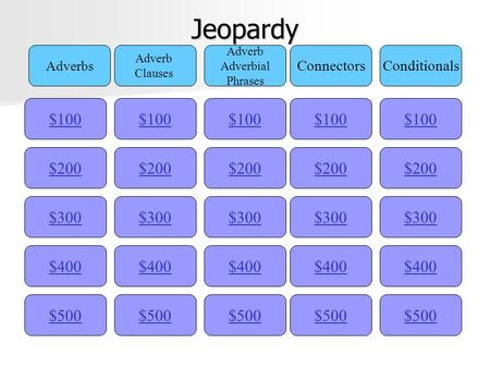 Jeopardy $100 Adverbs Adverb Clauses Adverb Adverbial Phrases ConnectorsConditionals $200 $300 $400 $500 $400 $300 $200 $100 $500 $400 $300 $200 $100 $500.
