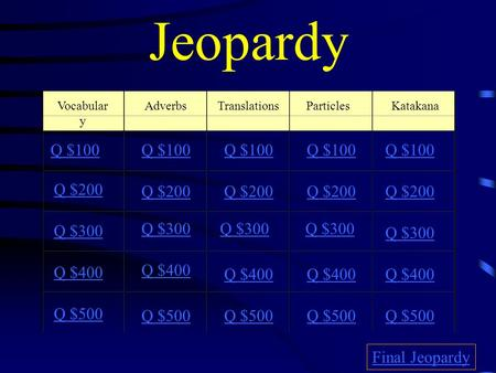Jeopardy KatakanaAdverbsParticles Q $100 Q $200 Q $300 Q $400 Q $500 Q $100 Q $200 Q $300 Q $400 Q $500 Final Jeopardy Vocabular y Translations.