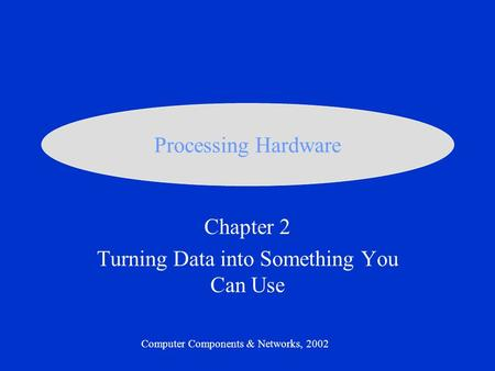 Chapter 2 Turning Data into Something You Can Use Computer Components & Networks, 2002 Processing Hardware.
