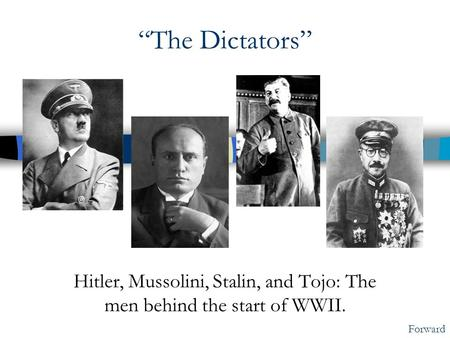 """The Dictators"" Hitler, Mussolini, Stalin, and Tojo: The men behind the start of WWII. Forward."