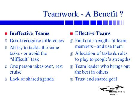 "Teamwork - A Benefit ? n Ineffective Teams 6 Don't recognise differences 6 All try to tackle the same tasks - or avoid the ""difficult"" task 6 One person."